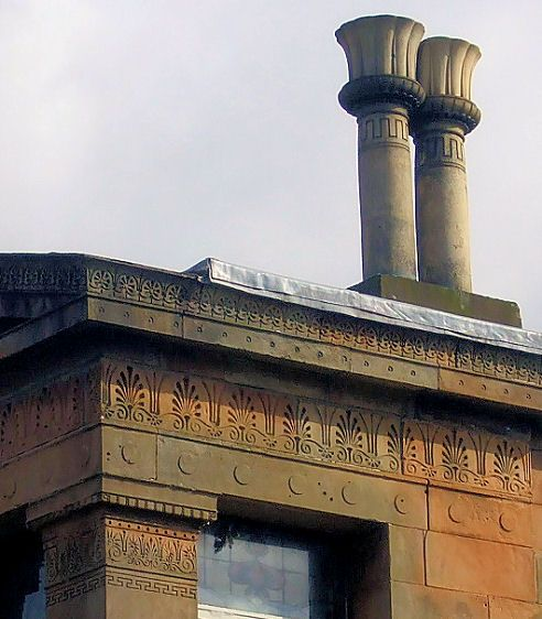Detail of Egyptian relief and decorated chimney pots at Alexander 'Greek' Thompson's Moray Place.