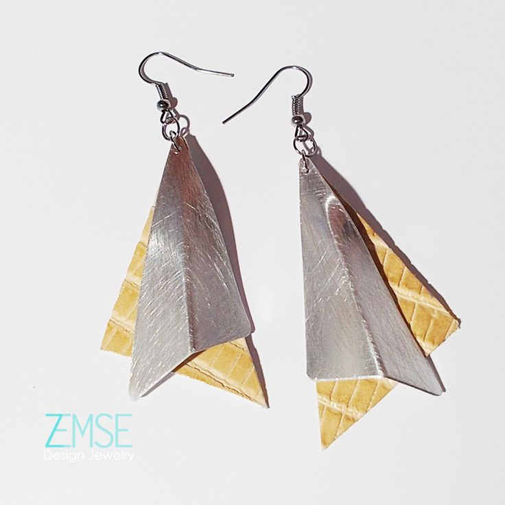 Silver - yellow double earring by ZEMSE