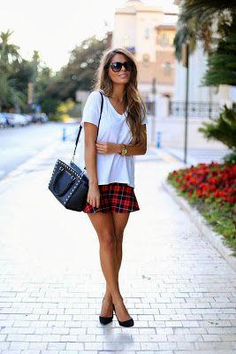 Tartan Skirts can be worn as a discrete statement with a white top #tartan #skirt #discrete