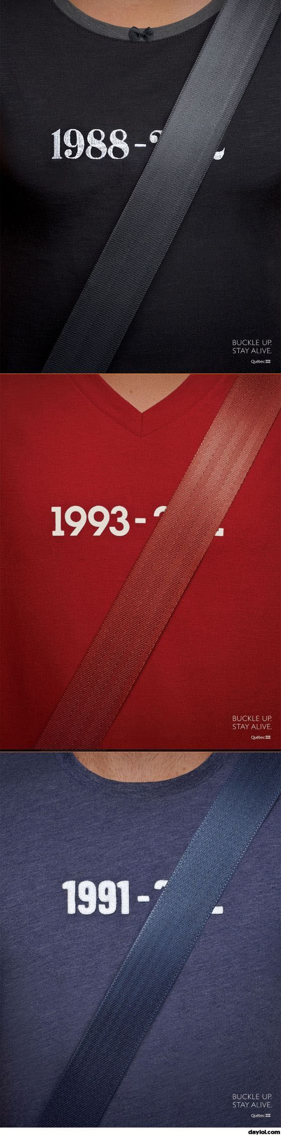 Buckle up and stay alive ad campaign.