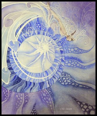Faery  fairy  fae fay fantasy  watercolor  psychedelic  Goddess  'new age art' Surrendering  Ora Moon    Watercolor- 14''x17''   Copyright Ora Moon  Surrendering