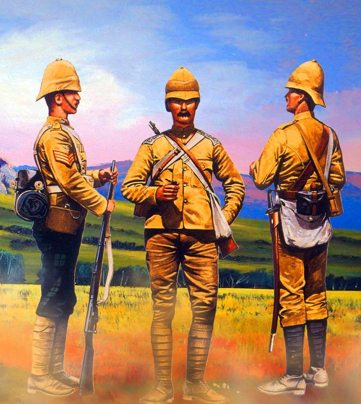 """Why they were called """"Khakies."""" British 16th Lancers with Artillery gunner, Boer War"""