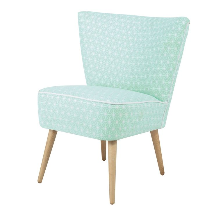 Cotton patterned vintage armchair in sea green