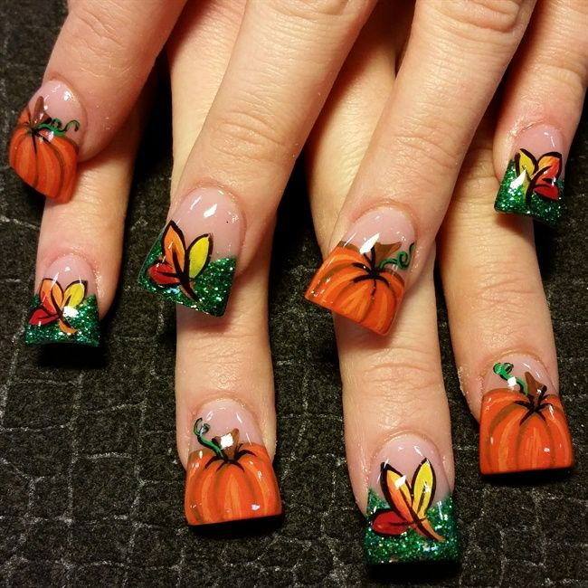 pumpkins - Nail Art Gallery...Not the wide tips, but I like the design
