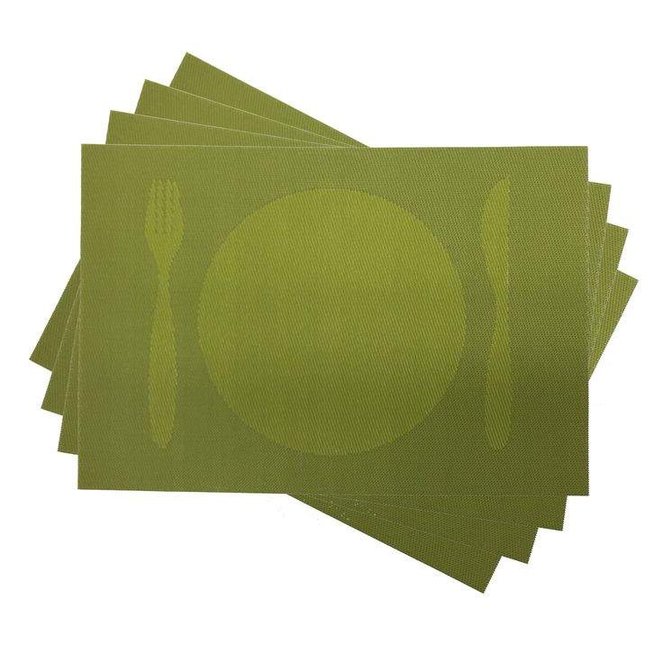 """Modern Decorative Knife and Fork Woven PVC Placemat, Table Mats, 12"""""""" x 16"""""""", Set of 4"""