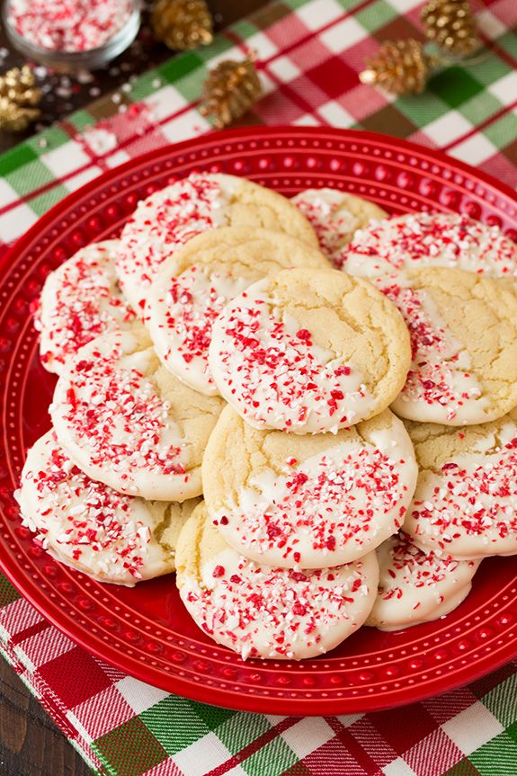 White Chocolate Dipped Peppermint Sugar Cookies - Cooking Classy