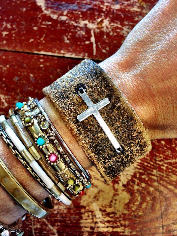 Sideways Cross Leather Cuff Bracelet Bohemian by ThreeBirdNest, $48.00