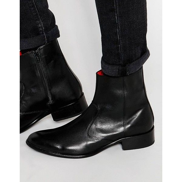Base London Lancelot Leather Zip Boots ($74) ❤ liked on Polyvore featuring men's fashion, men's shoes, men's boots, black, mens side zipper boots, mens leather zipper boots, mens zipper shoes, mens black shoes and mens black boots