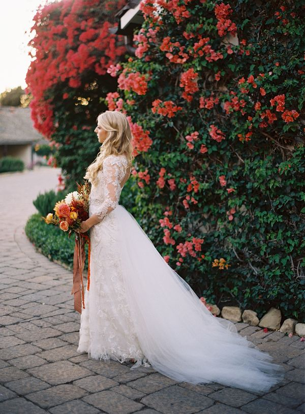 Colorful Elegant San Ysidro Ranch Wedding - amazing monique lhullier gown