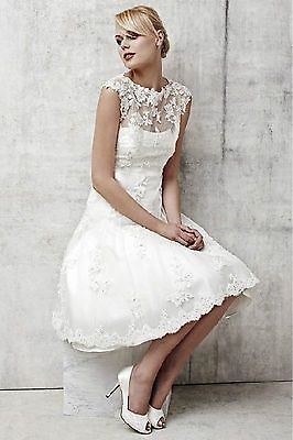 Custom Lace Bride Wedding Gown Bridal Short Dress Size 4-6-8-10-12-14-16-18-20++