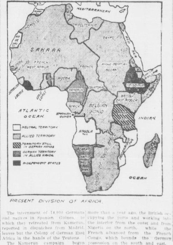 "WWI covered live on Twitter: ""Feb15 1916 German Africa mostly now in Allied hands, only German E.Africa remains https://t.co/RGu7i3dT6i @WWIAfrica https://t.co/uS58ZFViyv"""