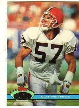 clay matthews cleveland browns | Clay Matthews Jr. 1991 Stadium Club football Card