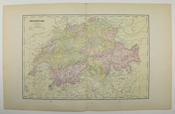 1886 Antique Map of Switzerland, Swiss Alps Mountains, and Old World Religions Vintage Map, Travel Gift Idea, European Art Map available from  OldMapsandPrints on Etsy