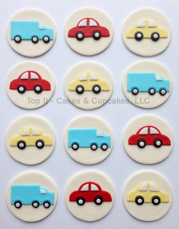 Fondant Cupcake Toppers - Cars & Trucks