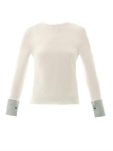 Eldon contrast-cuff silk top | Roksanda Ilincic | MATCHESFASHI...