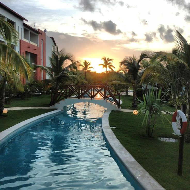 Sunrise over the #pool at #NowLarimar in #PuntaCana. #Caribbean #tropics #travel #vacation