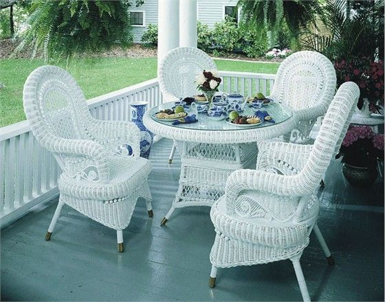 Victorian Wicker Dining Set of 5 #white #wicker #furniture Pinned by wickerparadise.com