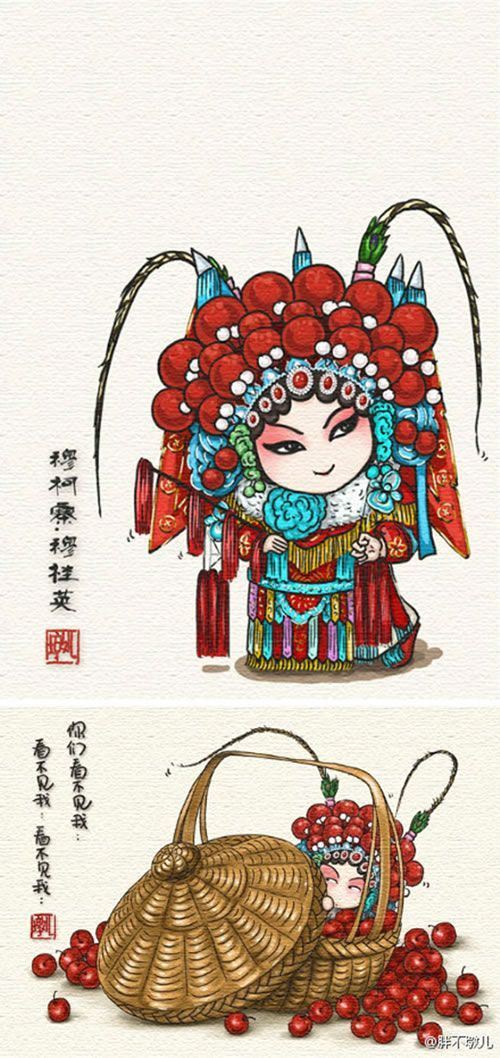 #When the opera characters into a delicious Chinese food#Have you ever seen such a cute cartoon opera it? When  traditional Chinese Beijing peking opera culture met the trendy artists, created a series of creative images, so funny! do you like it?