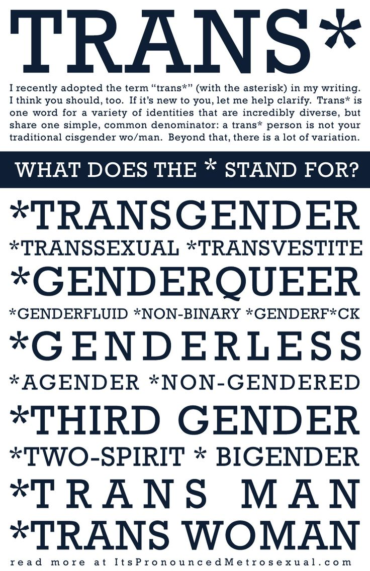 Trans* is an umbrella term that refers to all of the identities within the gender identity spectrum.