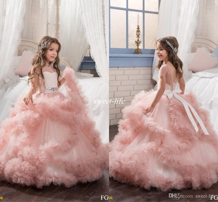 Blush ball gown short sleeves flower girl dresses crystals for Wedding dresses for young girls