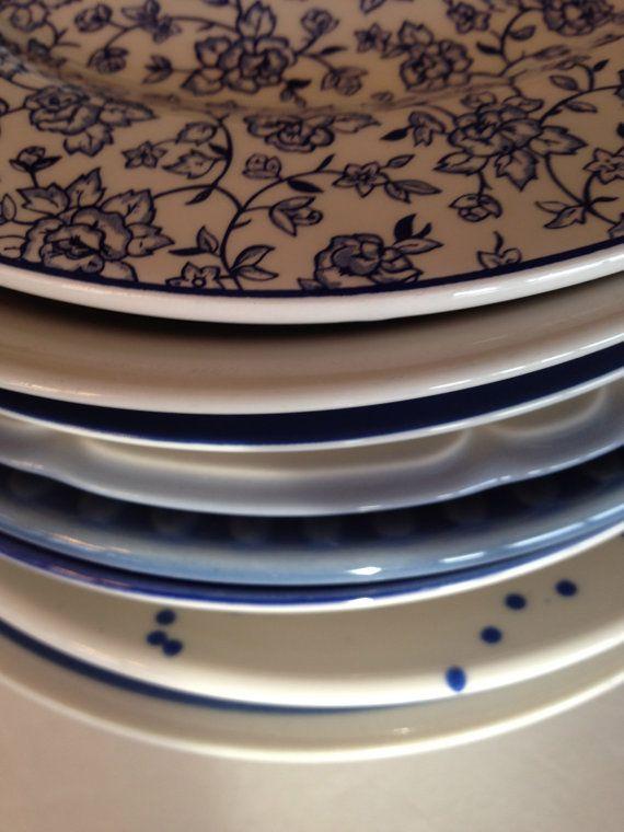 Blauw wit salade platen mismatch Stripe Floral spetter
