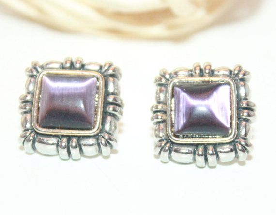 Vintage Southwestern Earring Silver and Purple Marked MX Omega Post Backing Square Earrings on Etsy, $8.97 CAD