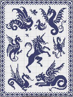 Короны - цветные схемы вышивки крестом. Medieval dragons cross stitch