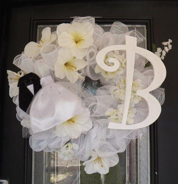 Monogram Wedding Wreath- Monogram Bridal Shower Wreath- Bridal Shower Decoration-Bridal Shower-Wedding