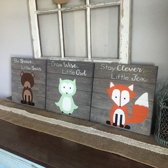 Are you looking for the perfect woodland decor? Well look no further this is a set of 3 woodland signs. There is a bear, fox and owl sign. These signs are hand drawn by me and then hand painted, so no signs will be identical. I can change anything about them that you would want. If you want a different background color or the animals a different color I can do that just let me know any changes in the note to seller when you purchase them. All of my items are handmade and hand painted by me…