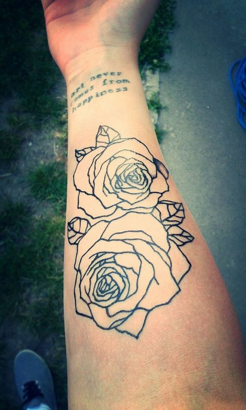 Black Outline Two Rose Tattoo On Right Forearm