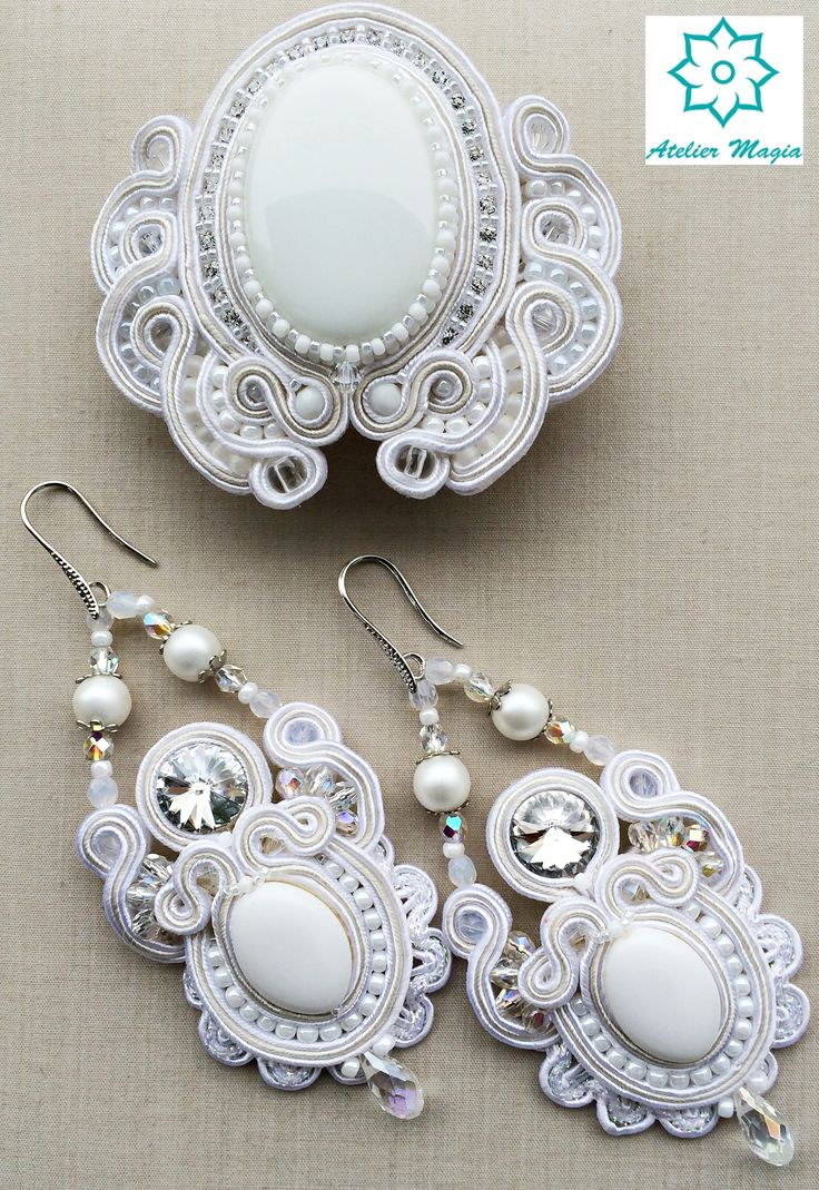 bridal soutache set - hair barrette and earrings - Atelier Magia by Katarzyna Wysocka