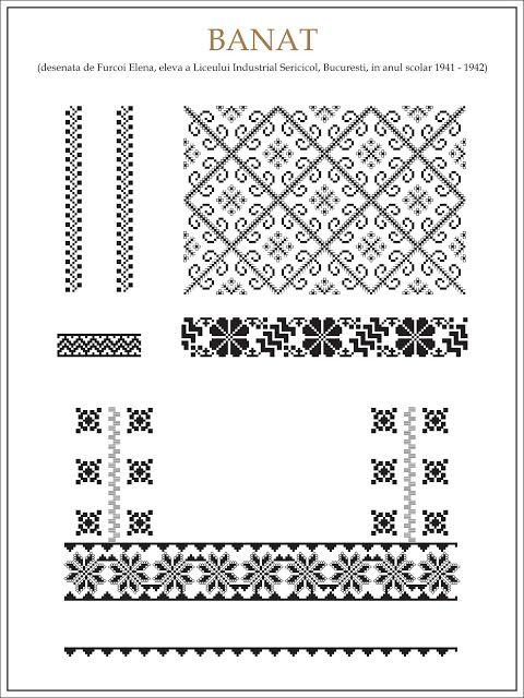 Semne Cusute: ie din BANAT  Modele de ii Romanesti din caietul elevei Furcoi Elena, de la Liceul Industrial Sericicol Bucuresti, care a desenat aceste planse in clasa a VIII-a, anul scolar 1941 - 1942