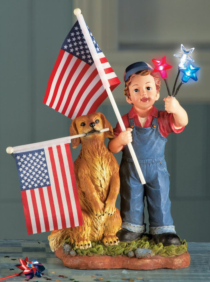 Lighted Patriotic Boy And Dog Statue