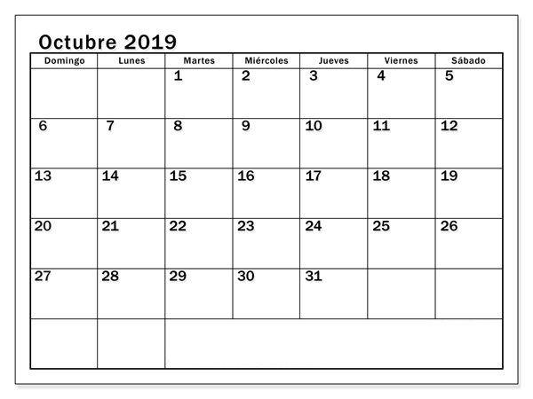 Calendario De Octubre De 2019 Para Imprimir Calendario De Octubre Calendario Julio Calendario Septiembre