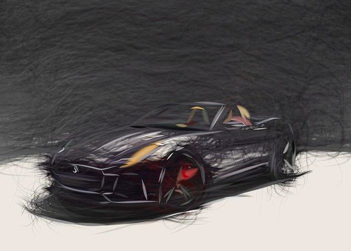 7 Jaguar F Type Svr Convertible Drawing Carstoon Concept Greeting Card By Carstoon Com Our Premium Stock Gr In 2020 Jaguar F Type Buy Canvas Prints Order Canvas Prints