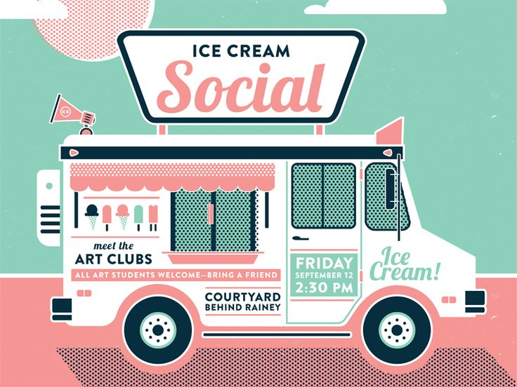 Ice cream truck illustration for a poster.