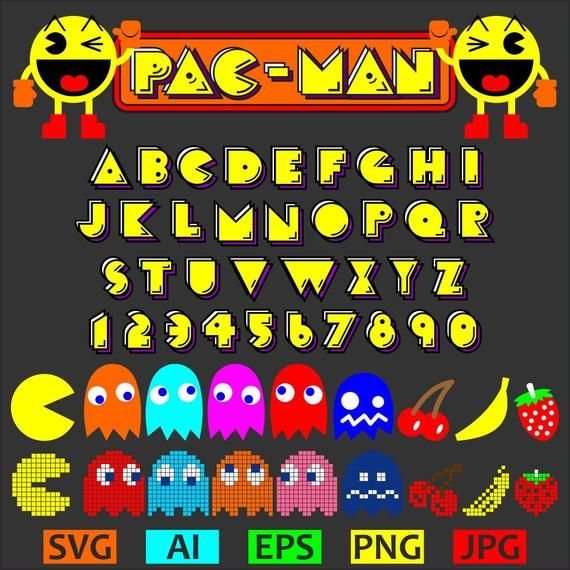 This Is Instant And Digital Download These Are Digital Files No Physical Item Will Be Sent These Files Are Vectors Not Creative Lettering Pacman Retro Font