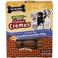 Three Dog Bakery Classic Cremes Carob Cookies with Natural Peanut Butter Filling Dog Treats, 13-oz bag