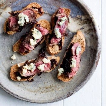 Caramelised Onion, Steak and Blue Cheese Bruschetta