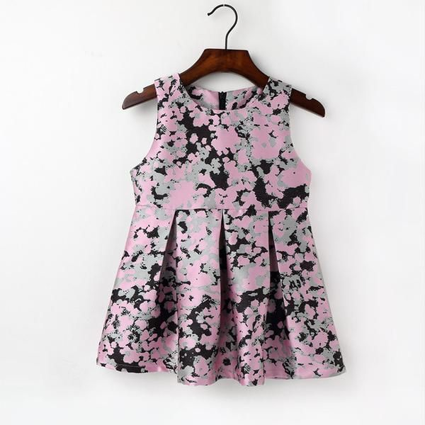 Toddler Girls Winter Dresses Princess Party Dress Kids Clothing Ink Painting Dress Sleeveless Clothes
