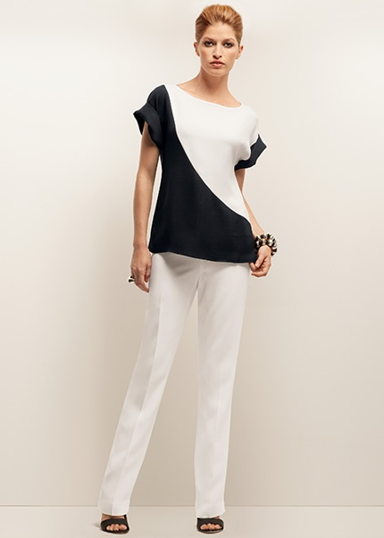 #Tshirt #Bluse #schwarzweiß Silk Double Georgette Color Block Nadia Top and Viscose Crepe Barrow Pant