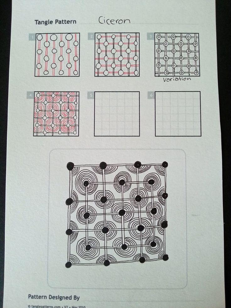 Judy's Zentangle Creations: Zentangle Patterns.  Circles, grid. Tutorial.