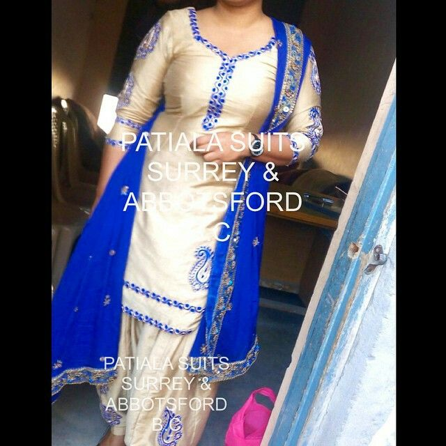 The picture does not give this suit justice!  This beautiful all over silk suit has thread work and hand embroidery done around the neck, arms, gherra and salwar. It's royal blue dupatta has work patti completed on it. An elegant evening wear. Please email us at patialasuits179@gmail.com or give us a quick call at 1(604)-780-8190 for pricing inquiries #royalblue #punjabisuits #suitswag #instafashion #salwarsuit #punjabifashion #patialasuits #shahipatialasuits #surrey #abbotsford #silksuit…