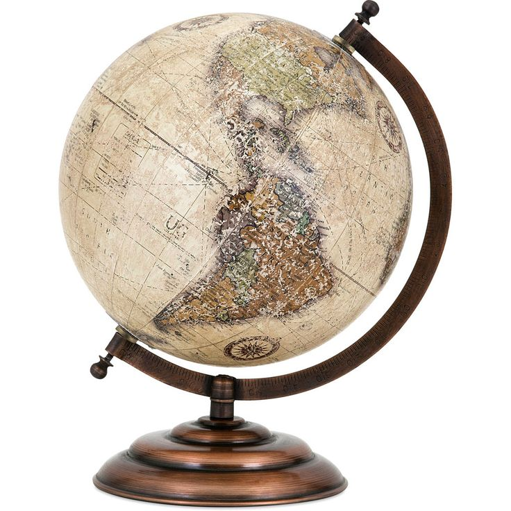 """Add international style to your desk or tabletop with this traditional world globe in a neutral colorway on a metal stand in an oil-rubbed bronze finish. - Dimensions: 10.5""""H x 7.75""""D - Material: 50%"""