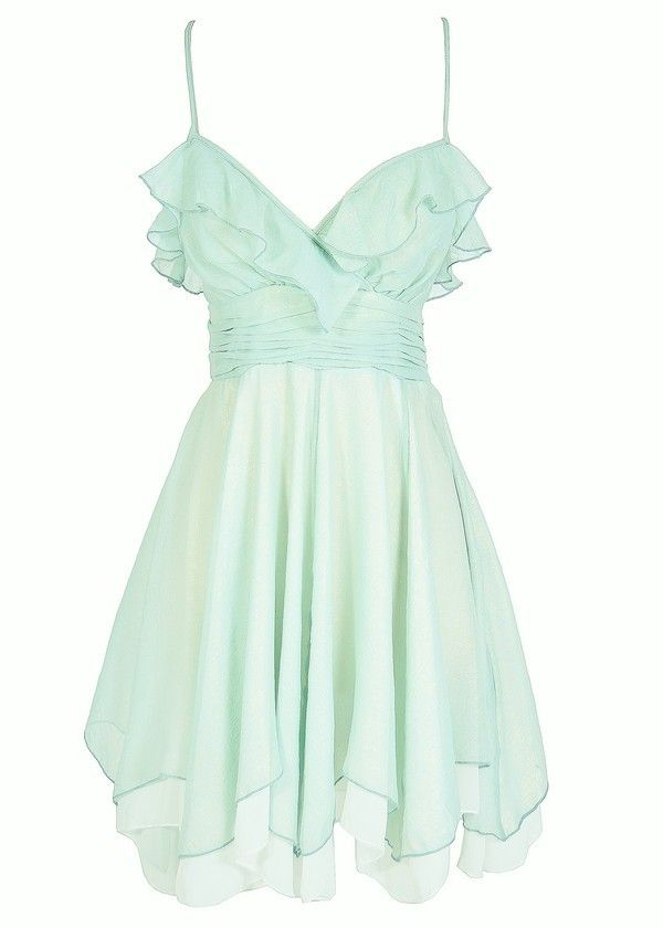 Forest Fairy Chiffon Ruffle Designer Dress in Sage  www.lilyboutique.com