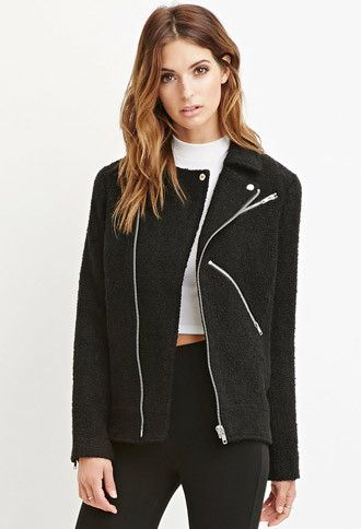 Contemporary Zippered Boucle Moto Jacket   Forever 21 - 2000142441