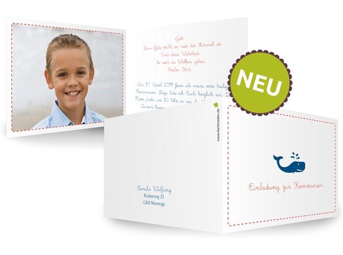 Karteneden Kommunion/Konfirmation Einladung Glaubenswa(h)l Eine Kleine  Wasserfontäne Verspritzt Der Wal