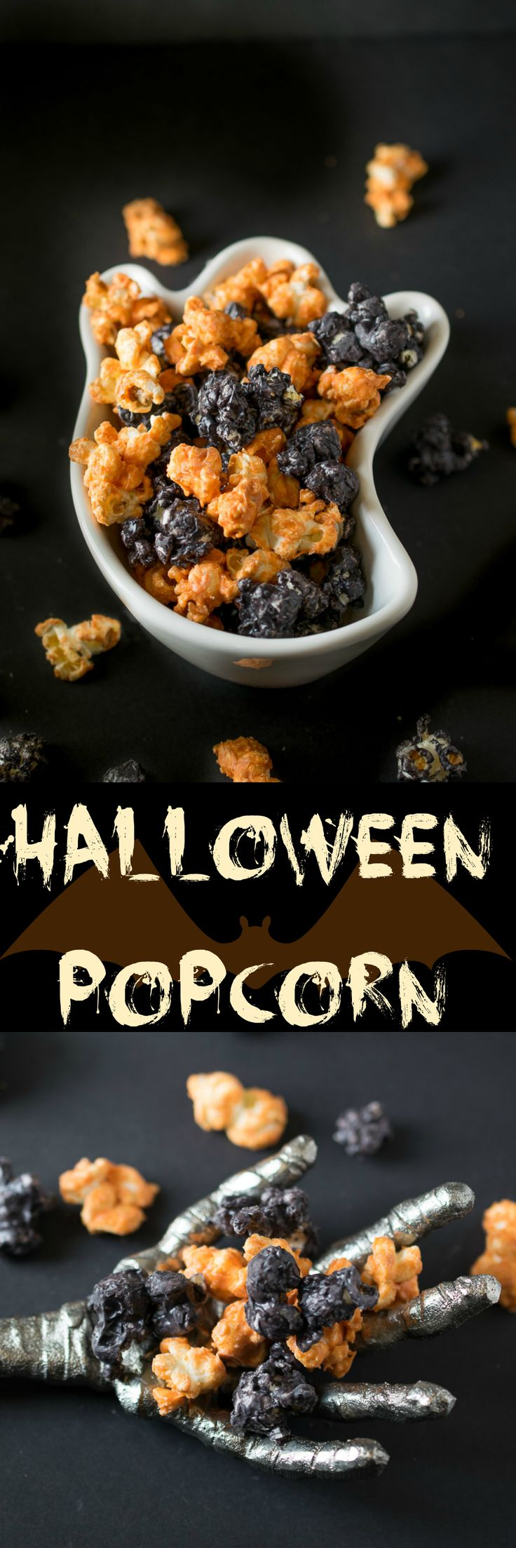 Popcorn is coated in orange and black candy melts for a spooky treat. Easy snacking for entertaining or for trick or treating.