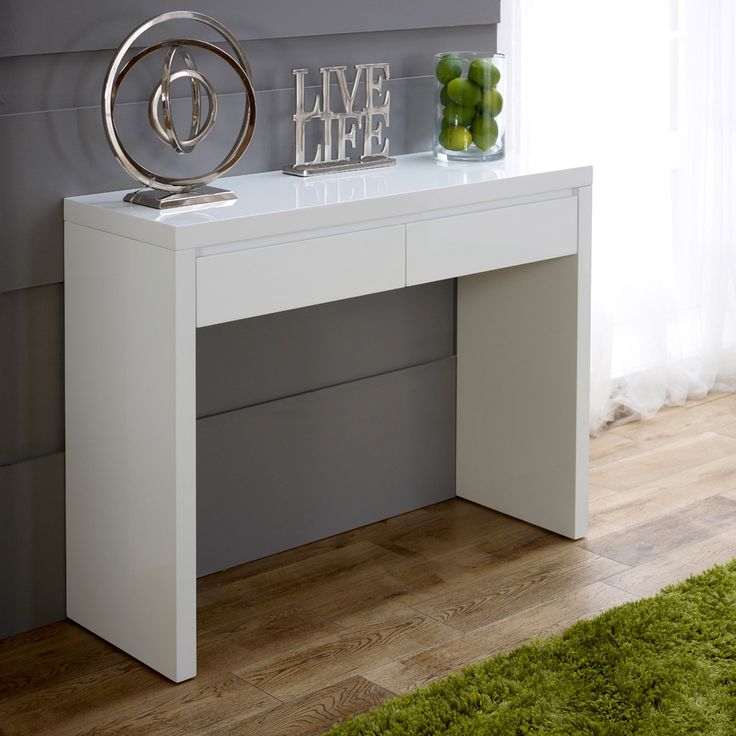 White High Gloss 2 Drawer Dressing Console Table