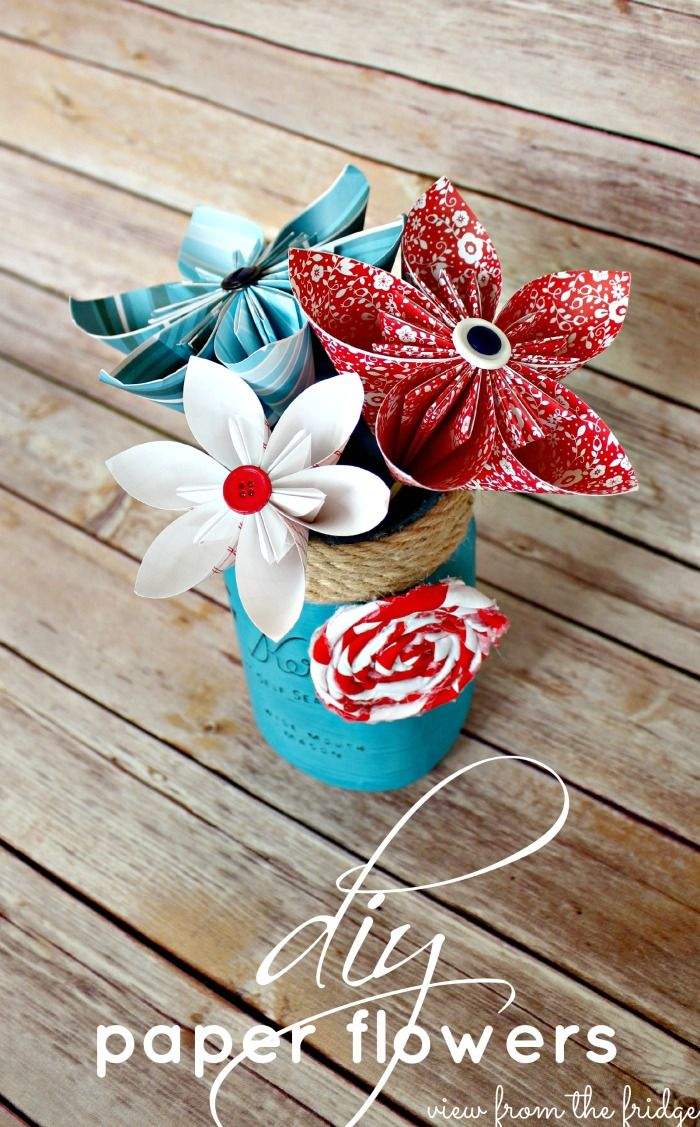 Easy to create DIY Paper Flowers.  Full tutorial from View From The Fridge